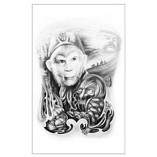 Temporary Tattoo Fake Tattoo Monkey King 19x11,5cm  wasserfest AX76