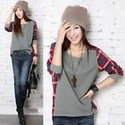 Hot Sale Women Girls Plaid Checked Long Sleeve Casual Loose T shirt Tops Blouse
