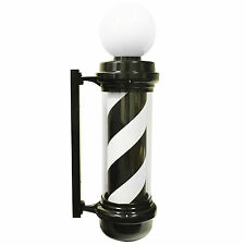 "Large WIDE 34x10"" Spinning Black White Stripes Barber Shop Pole Light Open Sign"