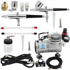 OPHIR 110V 2 Airbrush Spray Paint Gun & Mini Air Compressor for Hobby Cake Model