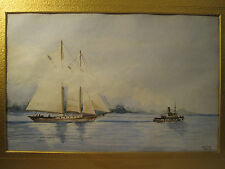 ANTIQUE AMERICAN IMPRESSIONIST WATERCOLOR SCHOONER TUG BOAT NAUTICAL  PAINTING
