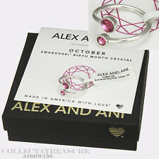 Authentic Alex and Ani October Shiny Silver Birth Month-Ring