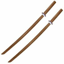 Lot of 2 Wooden Practice Samurai Bokkens for Play Sword Fights