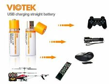 New Viotek 2-Pack 800mAh 1.2V Ni-MH USB AA Rechargeable Batteries -Long Life