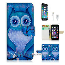 "iPhone 6 Plus (5.5"") Print Flip Wallet Case Cover! Blue Owl Art P0135"
