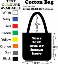 Bag Black Cotton printed with your custom text and or full colour photo on it