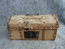 Small 19thC Primitive BRASS TACK Hide LEATHER Covered CHEST Old TRUNK Box R HALL