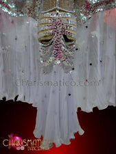 CHARISMATICO Silver and white skeleton costume with pleated cape like wings