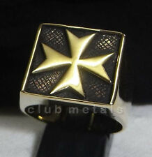 MALTESE CROSS CRUSADER TEMPLAR KNIGHT BRONZE BIKER RING