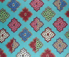 DESIGNERS GUILD Carnets Andalous printed linen turquoise  New Remnant
