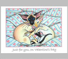 NEW ORIGINAL LARGE SIAMESE CAT PAINTING VALENTINES CARD BY SUZANNE LE GOOD