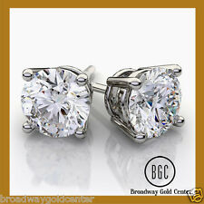 10K SOLID WHITE GOLD 2.50TCW ROUND MAN-MADE DIAMOND EARRINGS SNAP CLOSURE SALE!!