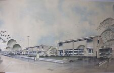 Mid Century Modernist Architectural Drawing Watercolor Ink Painting Signed