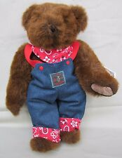 """The Vermont Teddy Bear Co. 16"""" Teddy Bear Blue Jean Coveralls Red Kerchief/Cuffs"""