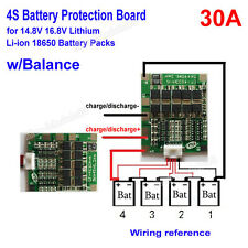 4S 30A BMS Protection PCB Board For Li-ion Lithium 18650 Battery Pack W/ Balance