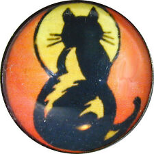 """1"""" Crystal  Dome Button Art Deco Cat in Full Moon Light C72 FREE US SHIPPING"""