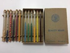 Vtg Walco Indian Native American Seed Bead Glass Tube Box Set