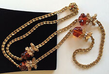 Glitzy Vintage Miriam Haskell Necklace~Amber Art Glass/RS/Filigree/Goldtone