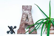 """14"""" Letter A Industrial Recycled Rustic Tin Metal Sign Block Font"""