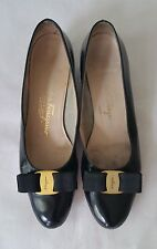 Salvatore Ferragamo Vara Black Leather Low Heels Pumps Women's 8 AAA