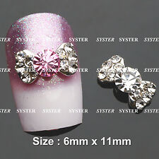 2 Colors 10 Pcs Alloy Bow Tie Jewelry 3D DIY Rhinestone Nail Art Glitters Slices