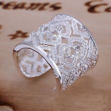 Women Fashion Heart Zircon Ring Silver Plated Jewelry Size 8 CAMG
