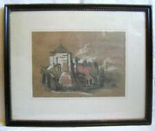 """Original """"Norwich School"""" signed Drawing: Harbour Scene with Dock & Shipping"""