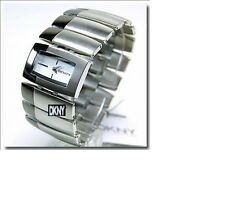DKNY LADIES SILVER AND CHROME BRICK BANGLE WATCH NY4383