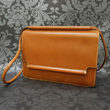 Rise-on Vintage HERMES Brown Leather Shoulder Bag Purse #29