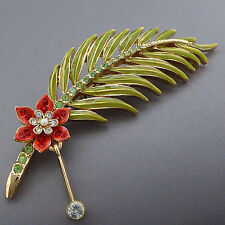 ST. JOHN FLOWER LEAF PEARL GREEN ENAMEL SWAROVSKI CRYSTAL RHINESTONE PIN BROOCH