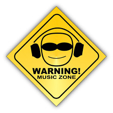 "Warning Music Zone Sign Car Bumper Sticker Decal 5"" x 5"""
