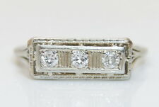 Antique 18K White Gold Victorian .15 TCW Diamond  Cocktail Ring