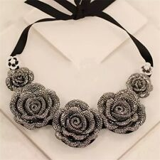Hot Luxury Charm Rhinestone Big Cute Rose Flower Pendant Bib Statement Necklace
