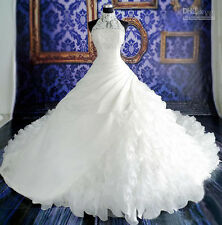 Luxury White Ball Gown Wedding Dresses Halter Applique Royal Train Bridal Gowns