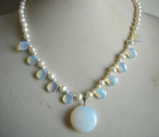schöne weiße Perle & Mondstein Kette Anhänger 17-18inch