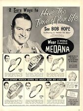 1952 Medana  watches and clock 7 models detailed Bob Hope promotes PRINT AD