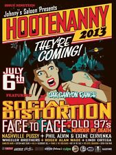 """SOCIAL DISTORTION / FACE TO FACE """"HOOTENANNY 2013"""" IRVINE CONCERT TOUR POSTER"""