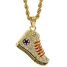 "Mens Gold Iced Out High Top Sneaker Pendant 24"" Rope Chain Hip Hop Necklace D471"