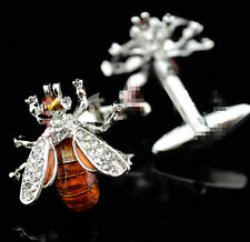 Fashion Men Crystal Silver Stainless Steel Bee Cufflinks Wedding Party Gifts