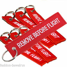 Hot Linen Remove Before Flight Key Chain Luggage Tag Woven Embroidery Keychain