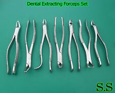 SET OF 7 AMERICAN PATTERN DENTAL TOOTH SURGERY EXTRACTING EXTRACTION FORCEP SET