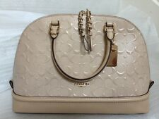 NWT Coach Sierra Satchel Dome In GOLD/PLATIUM Dembossed Patent Leather 55449