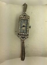VTG PLATINUM 1CTTW DIAMOND LADIES ART DECO WATCH CONVERTED TO A BATTERY QUARTZ!