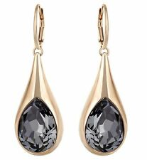 Swaraovski Drop Pierced Earrings, Black Crystal Authentic MIB 5142067