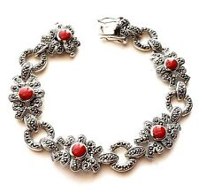 CARNELIAN Stones CHUNKY BRACELET Marcasite Studded .925 STERLING SILVER (7.5-in)