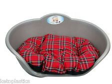 LARGE PLASTIC SILVER GREY PET BED WITH RED TARTAN CUSHION DOG CAT SLEEP BASKET