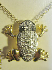 Frog  silver charm gold chain necklace amphibian Sterling  jewelry gift