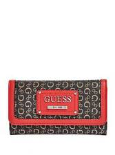 NEW GUESS PROPOSAL BLACK+RED COATED CANVAS,PVC,G LOGO,SILVER,SLIM WALLET,CLUTCH