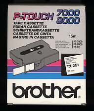 1x BROTHER TX-251 P-touch 24mm Ruban NOIR / WHITE   PT-7000, PT-8000, PT-PC