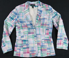 LRL RALPH LAUREN PASTEL PATCHWORK PLAID WOMENS BLAZER SUIT JACKET CAREER M